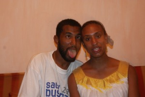 me and abdul making faces