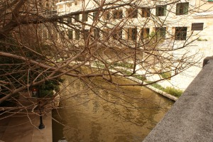 The San Antonio Riverwalk. The water is brown because it is actually (in this part) an actual nature made river with a mud bottom.